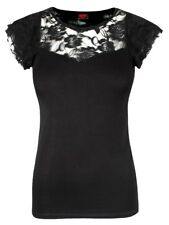 Spiral Gothic Elegance Lace Layered Cap Sleeve Women's Black Top