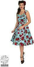 Hearts and Roses 50s Ditsy Red Rose Blue Floral Stretch Cotton Dress