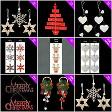 Wooden Christmas Hanging Decorations Tree Decoration Wood Snowflake Tartan