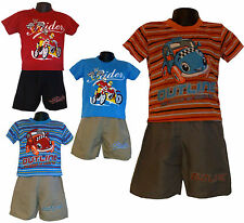 Boys New T-shirt Top Shorts Pants 2 Pieces Set Summer Outfit Blue Red Orange 2ys