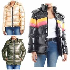New Womens Sliver Gold Contrast Colour Padded Hooded Puffer Parka Coat Jacket