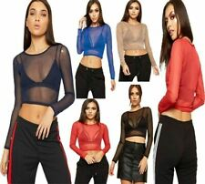 Ladies Womens Sheer Mesh Crop Top Long Sleeve Crew Neck Plain Party Wear Top