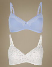 NEW MARKS /& SPENCER M/&S 2 PACK NON-WIRED T-SHIRT PADDED BRAS PINK//BLUE 32 AA A *