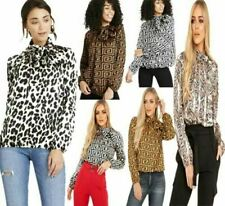 Womens Ladies Animal Leopard Print Top Long Sleeve Shirt Tie Up Bow Blouse