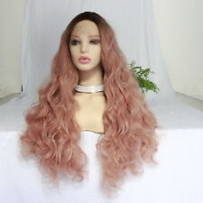 """16-24"""" Black to Smoke Pink Long Curly Wavy Synthetic Hair Women Lace Front Wig"""