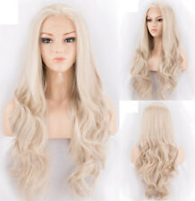 """16-24"""" Heat Resistant Hair Handtied Long Wavy Lace Front Wig Light Blonde"""