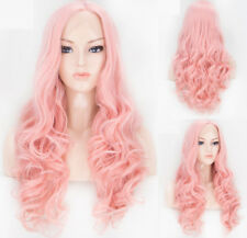 """16-24"""" Pink Cosplay Women Party Long Wavy Synthetic Hair GlueLess Lace Front Wig"""