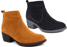 Womens Ankle Boots Faux Suede Fashion Zip Low Heel Office Casual UK Size 3-8