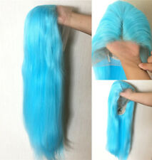 """16-24"""" Synthetic Hair Straight Handtied GlueLess Lace Front Wig Sky Blue Women"""