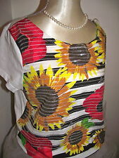 LIPSY WHITE SEQUIN SUNFLOWER LOOSE COTTON TOP SIZE 10,12  NWT