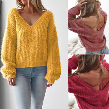 Blouse Women Knitwear Womens Ladies Shirt Sexy Lady V NECK V-NECK Soft Backless