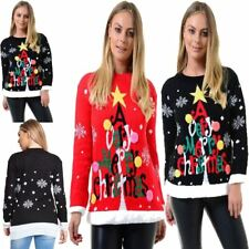 Womens Multicolor A Very Merry Christmas Knit Jumper Ladies Crew Neck Sweater