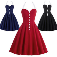 Dress Evening Nylon-cotton Pinup Halter Skater Retro Lady Vintage Party Swing