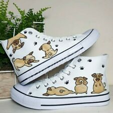 Hand painted Pug shoe / Pug shoes / Customised Shoes / Dog painted shoes