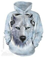 The Mountain White Wolf Wolves DJ Face Pullover Hoodie Sweatshirt Jacket S-2XL