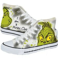 The Grinch Shoes / Christmas gift / I am a mean one / Custom Hand-painted Grinch