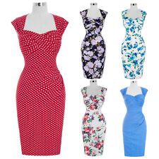 Dress Evening Wiggle Prom Pencil Retro Floral Vintage Party Swing 50s Bodycon