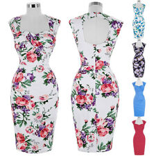 Dress Wiggle Prom Size Pinup Pencil Retro Floral Vintage Party Style Bodycon