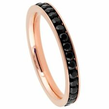 Titanium Ring Unisex Rose Gold IP Plated Titanium Ring Eternity With Black Cz
