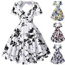 Dress Evening Pinup Cocktail Floral Retro Housewife Vintage Party Swing Back