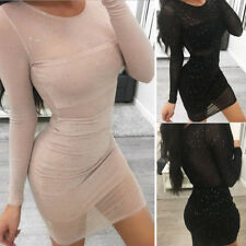 Women Sexy See Through Bodycon Pencil Evening Party Mini Short Dress Clubwear