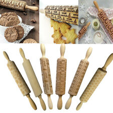 Wooden Rolling Pin Engraved Rolling Pin Baking Cookies Biscuit Accessories