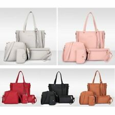 4pcs/set Women Lady Leather Handbag Shoulder Tote Purse Satchel Messenger Bag FK