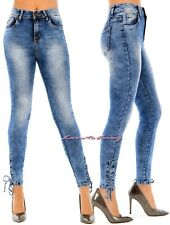 Womens Ladies Girls SUPER Skinny High Rise Acid Wash Ankle Lace Stretch Jeans.