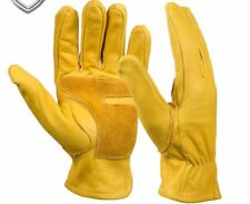 Cowhide Leather Work Gloves With Elastic Wear Wrist Welding Gloves Safety Protec