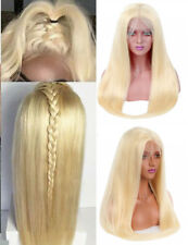 "16-26"" Full Head Full Lace Wig Straight Yellow Blonde Synthetic Hair Baby Hair"