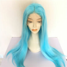 "16-26"" Women Long Straight Sky Blue GlueLess Lace Front Wig Heat Resistant Hair"