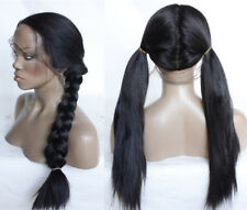 "16-26"" Natural Black Full Head Straight Baby Hair Full Lace Wig Synthetic Hair"