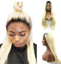 "16-26"" Synthetic Hair Ombre Blonde Baby Hair Full Lace Wig Long Straight Cosplay"