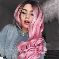 Women Long Curly Wavy Hair Full Ombre Red Green Pink silver blonde Cosplay Wig