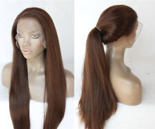 "16-26"" Baby Hair Silky Straight Handtied Synthetic Hair Brown Full Lace Wig"