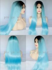 "16-26"" GlueLess Lace Front Wig Handtied Long Straight Blue Synthetic Fiber Hair"