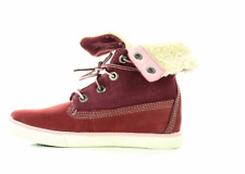 TIMBERLAND Junior Kids DEERING FOLD DOWN LEATHER FUR BOOTS - last two - New