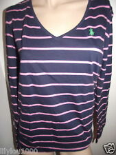 RALPH LAUREN NAVY PINK LONG SLEEVE STRETCH TOP SIZE S  NWT RRP£50