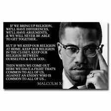 Malcolm X Quotes 12x18/24x36inch Inspirational Silk Poster Wall Decoration