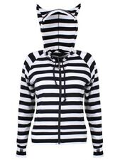 Banned Hoodie Cat Ears White Striped Women's Black and White