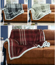 Wiltshire Flannel Sherpa Check Stripe Throw Warm Fleece Blanket Sofa Couch Bed