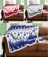 Flannel Sherpa Fairisle Throw Super Soft Warm Fleece Blanket For Sofa Couch Bed