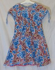 Girls Oilily Blue Pink Floral Lined Layered Short Sleeve Dress Age 9-10 Years