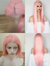 """16-26"""" GlueLess Lace Front Wig Pink Synthetic Fiber Hair Long Straight Full Head"""