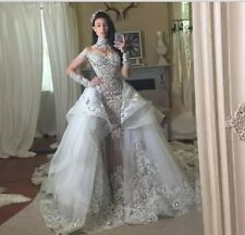 Luxury Crystal Wedding Dresses With Detachable Train Over-skirt High Neck