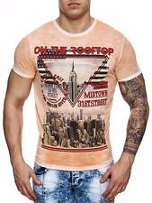 Camiseta Hombre Naranja Cuello Redondo Sky On The Roof Top EE.UU. New York