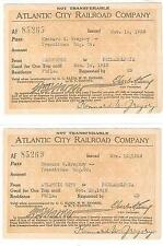 Atlantic City Railroad / TWO 2 FREE PASSES ISSUED TO TRANSITMAN FOR THE 1st ed
