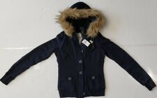 NWT Abercrombie & Fitch WOMENS FLEECE JACKET COAT CARDIGAN FUR  HOODED/XS  #96