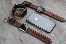 For Apple Watch 4 3 38/40/42/44mm Genuine Brown Leather Strap Wrist iwatch Band