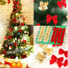 12xChristmas Tree Bow Decoration Baubles XMAS Party Garden Bows Ornament